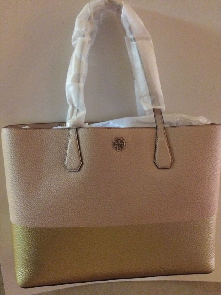 6d1aa7c5579  300.00 MFSRP   475.00 +tax Large Tory Burch Perry Colorblock Pebbled  Leather Tote Handbag in Light Oak Gold  ToryBurch  TotesShoppers