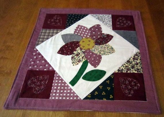 Table Mat, Candle Mat,  Placemat, Runner with Flower Quilted by Sewinggranny $18