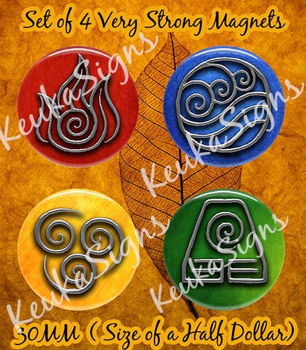 Last Airbender Water Earth Air and Fire 30mm 4 set by Keukasigns, $12.00
