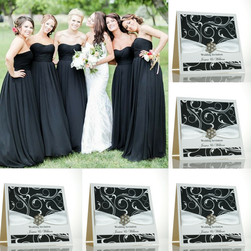 Black And White Wedding Invitations With A Modern Swirly