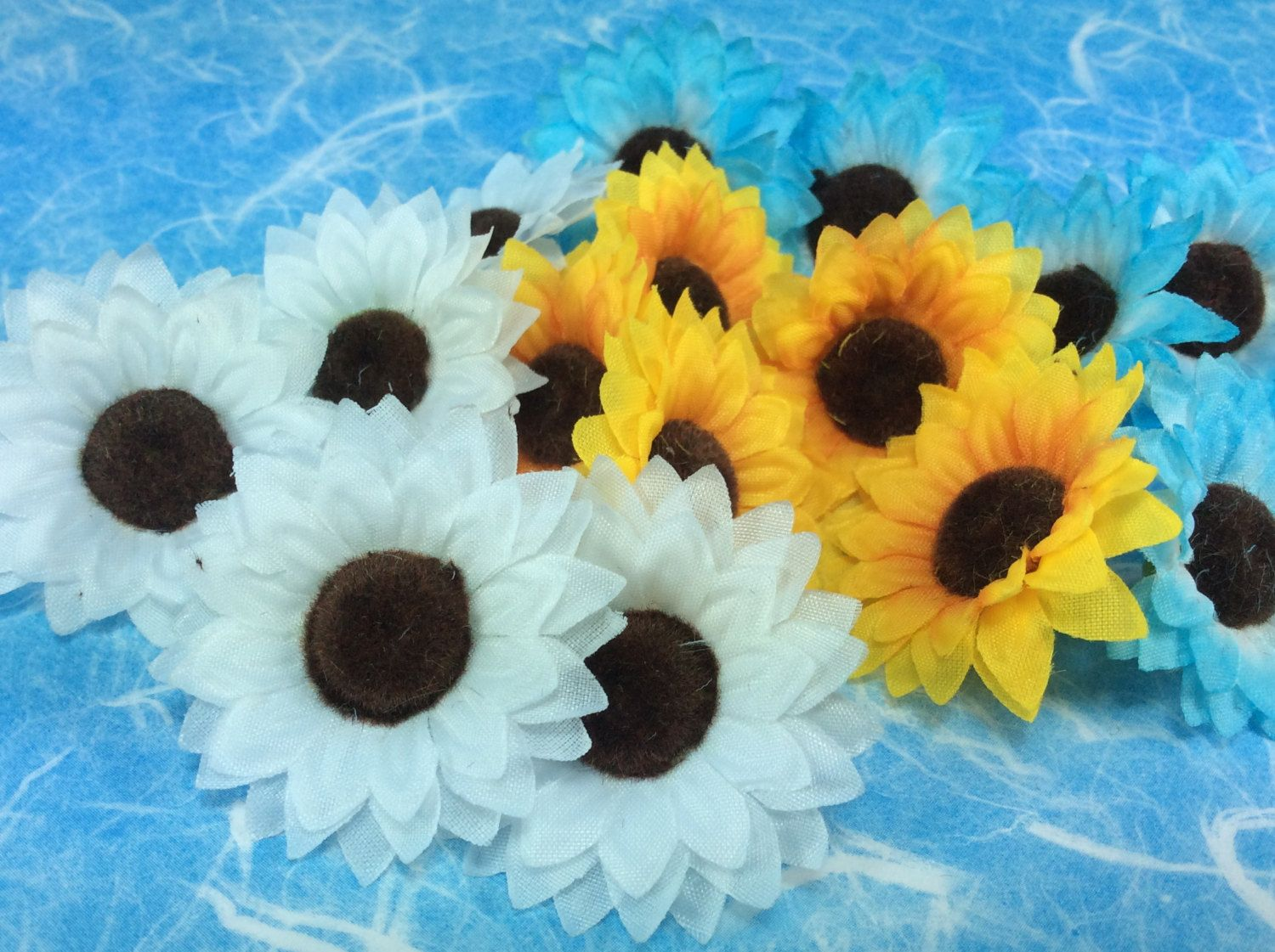 Supply Flowers Floral Blue White Yellow Brown Center Fabric Flower