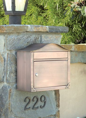 Antique Copper Peninsula Locking Wall Mount Mailbox With Plain