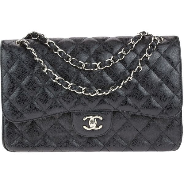 Pre-owned Chanel Black Caviar Jumbo Double Flap Bag (184,010 THB) ❤ liked on Polyvore featuring bags, handbags, preowned handbags, genuine leather handbags, pocket purse, shoulder strap purses and leather flap handbags