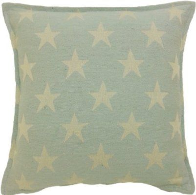 "WISHING STAR DUCK EGG BLUE 100% COTTON 18"" CUSHION COVER #THGILIWT *RIV*"