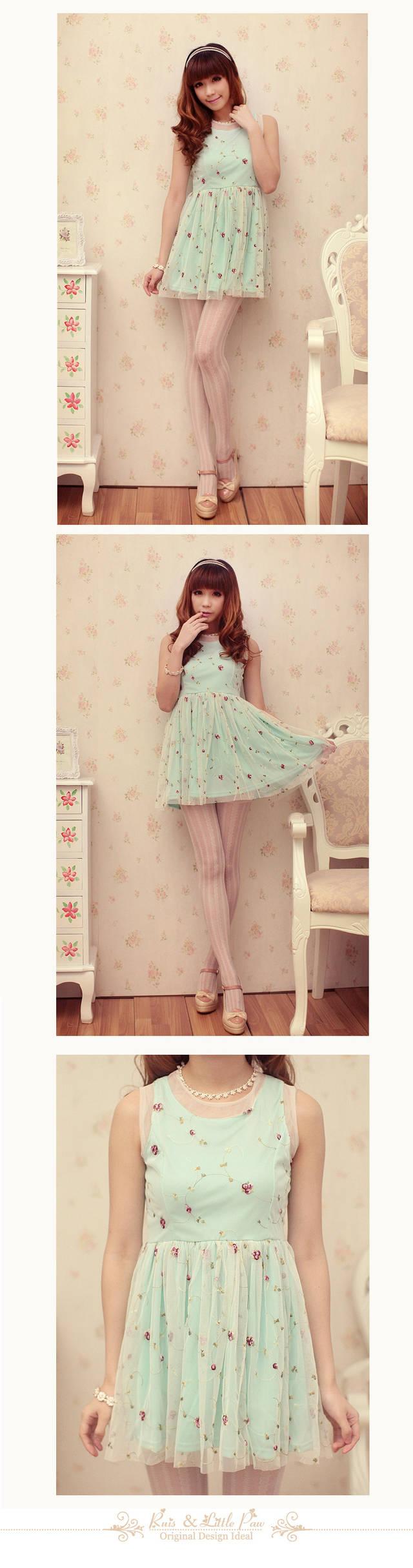 Kawaii Princess Cute Sweet Dolly Lolita Lace Rose Floral Sleeveless Dress Green