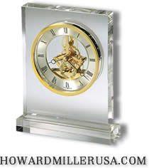 Howard Miller Tabletop Glass Crystal Quartz Clocks Prestige 645 682 Rectangular Glass Crystal Tabletop Clock Made With Hea Tabletop Clocks Clock Table Clock