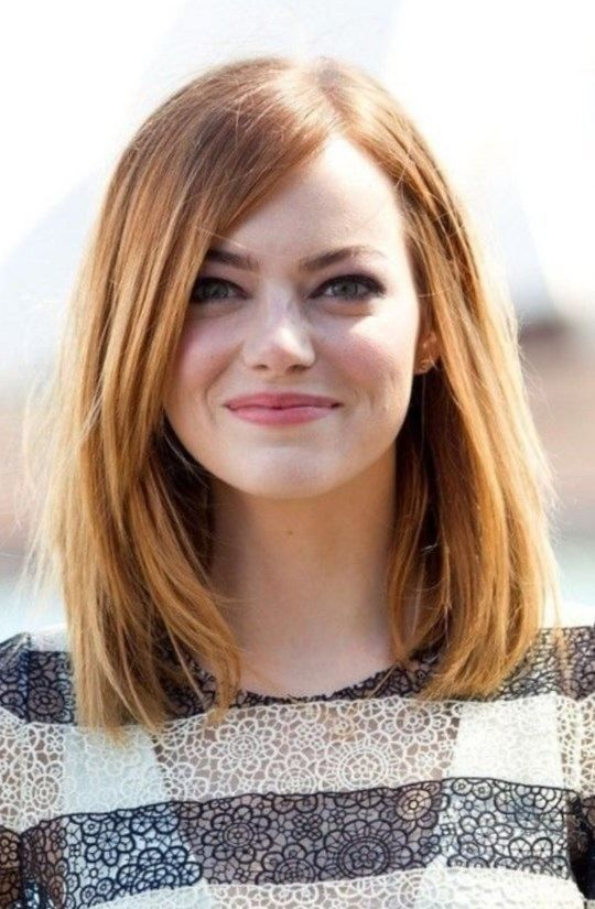 Long Bob Hairstyles With Fringe For Round Faces 2017 2018 Moda 2017 2018 Long Face Hairstyles Oval Face Haircuts Long Face Haircuts
