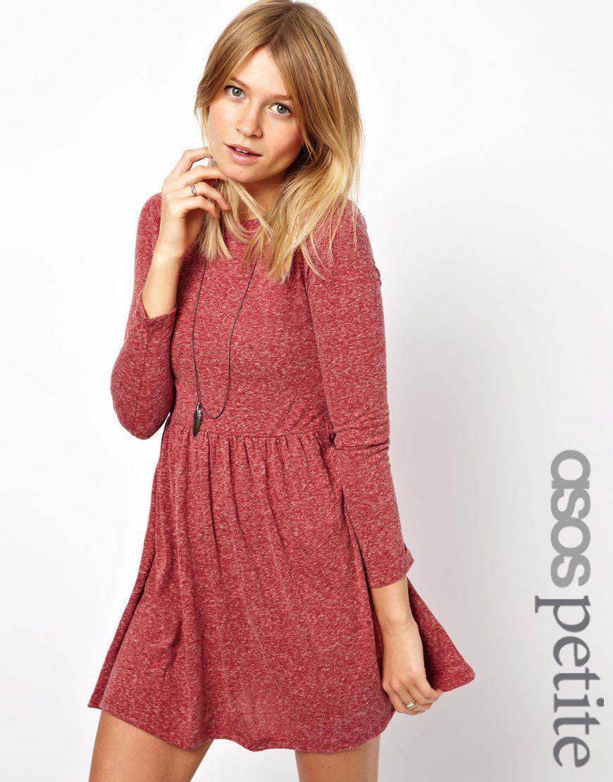 Asos petite asos petite textured skater dress with long sleeves at