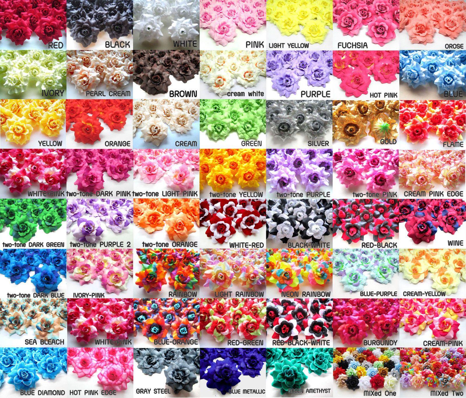 100pcs Silk Roses 175 Fabric Artificial Flower Heads