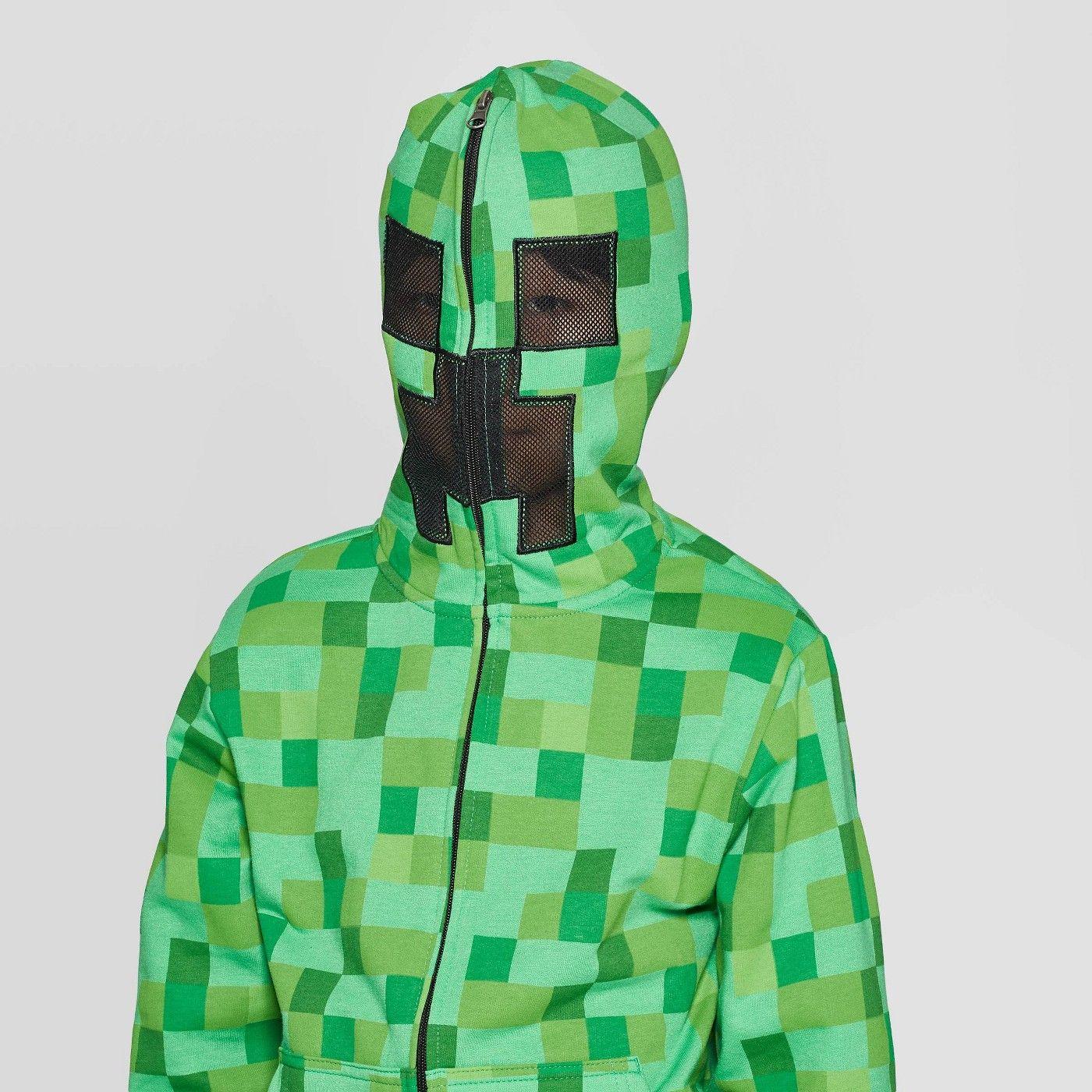 Minecraft Creeper All Over Print Boys Green Zip Up Felpa con cappuccio per bambini