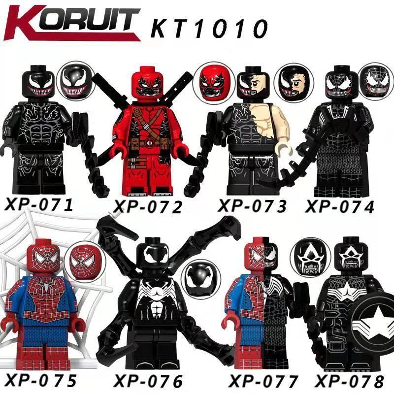 8pcs super hero figureS Black Spiderman Iron Man Doctor Strange Venom Cable