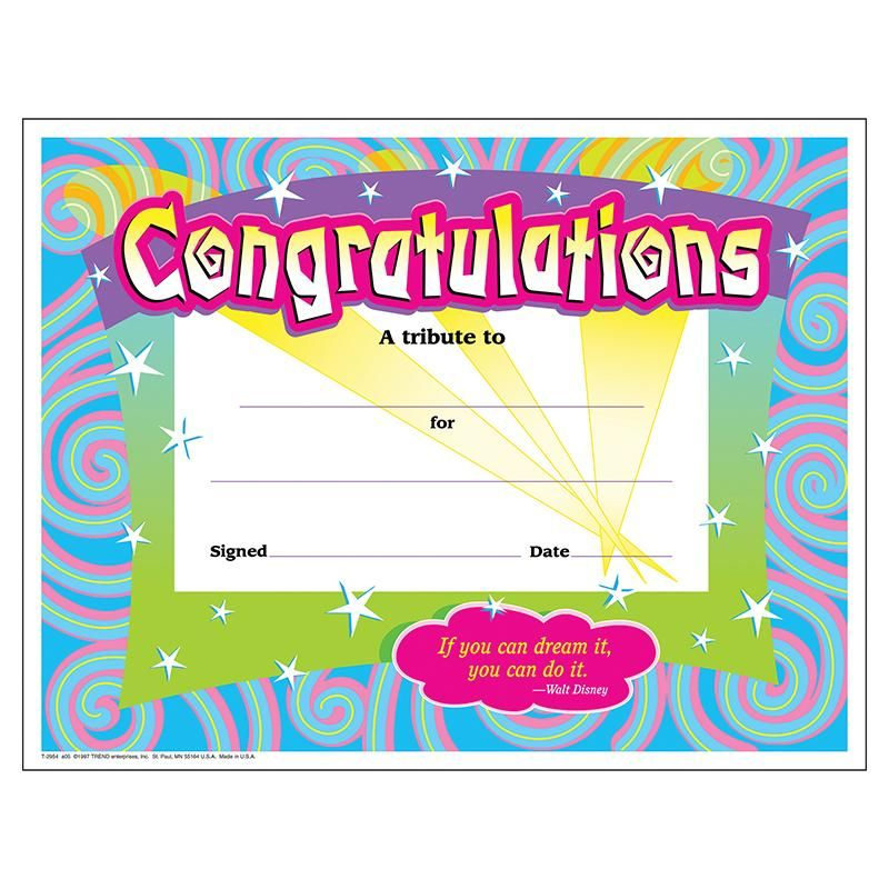 6 pk) certificate congratulations | Certificate and Products