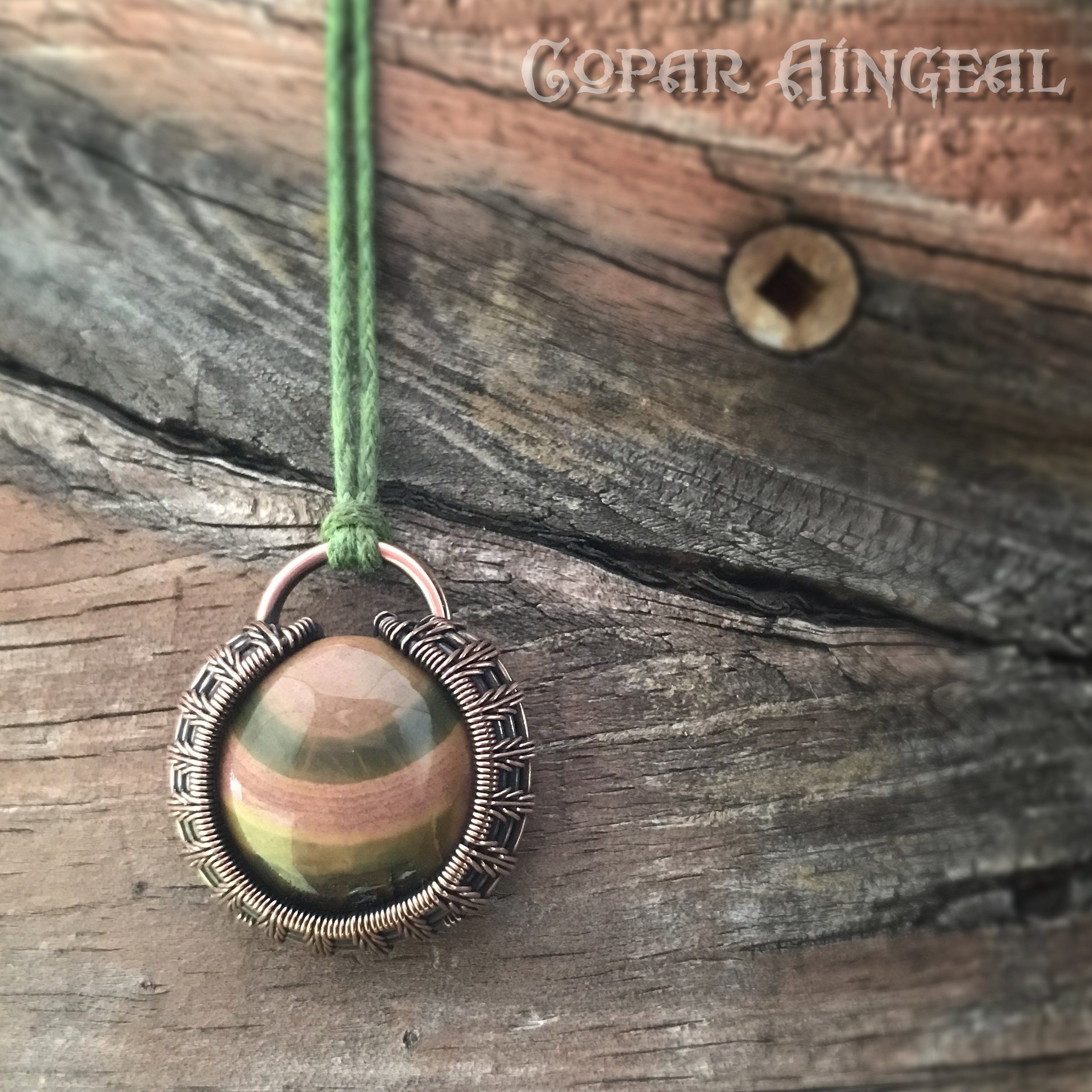 Super cute ocean jasper mini pendant, woven in oxidized copper wire ...