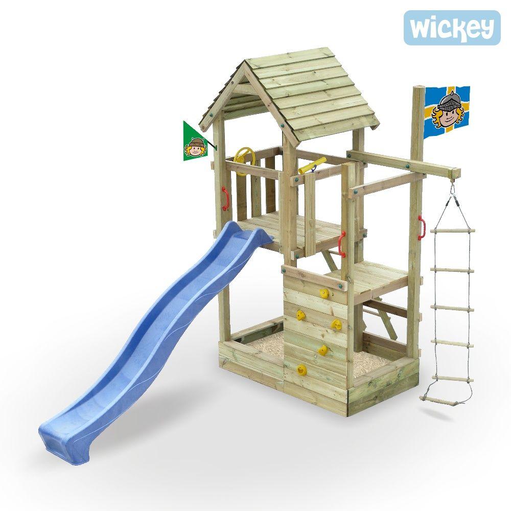 Spielhaus Wickey Arthur S Multitower Spielhaus Mit Kletteranbau Und Sandkasten Sandkasten Garten Spielturm Spielhaus