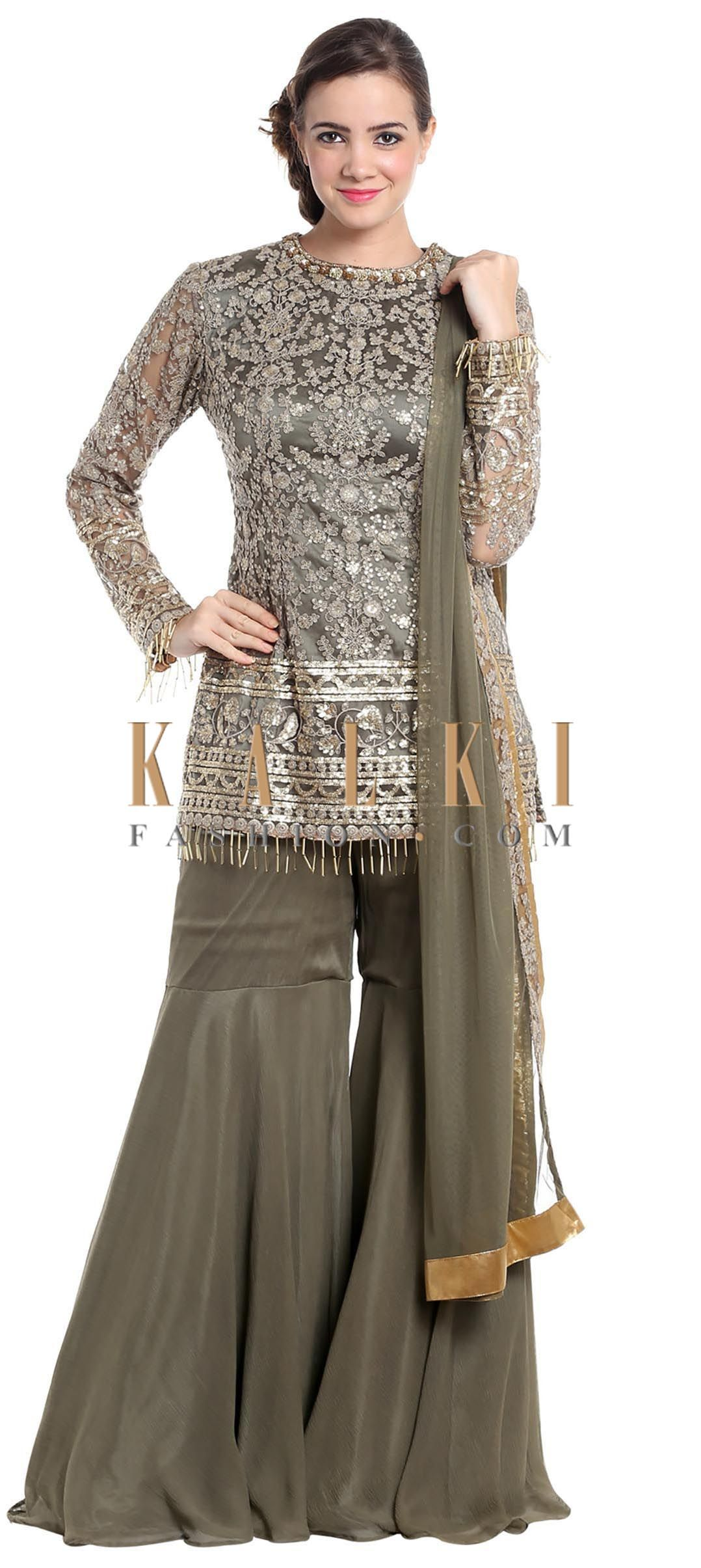174167dd7e Grey net gharara suit with zari and sequinsonly on Kalki | Patterns ...