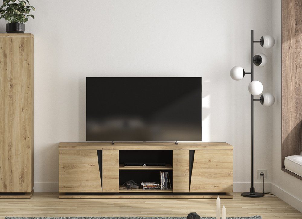 meuble tv contemporain chene clair jack