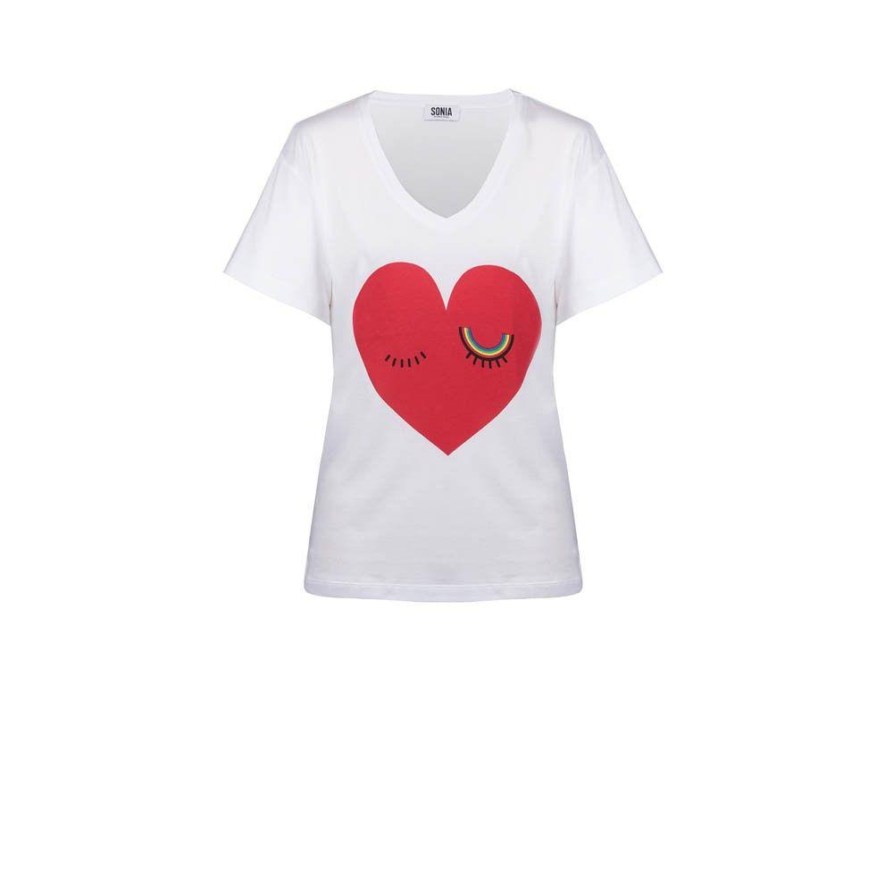 Heart printed T-shirt