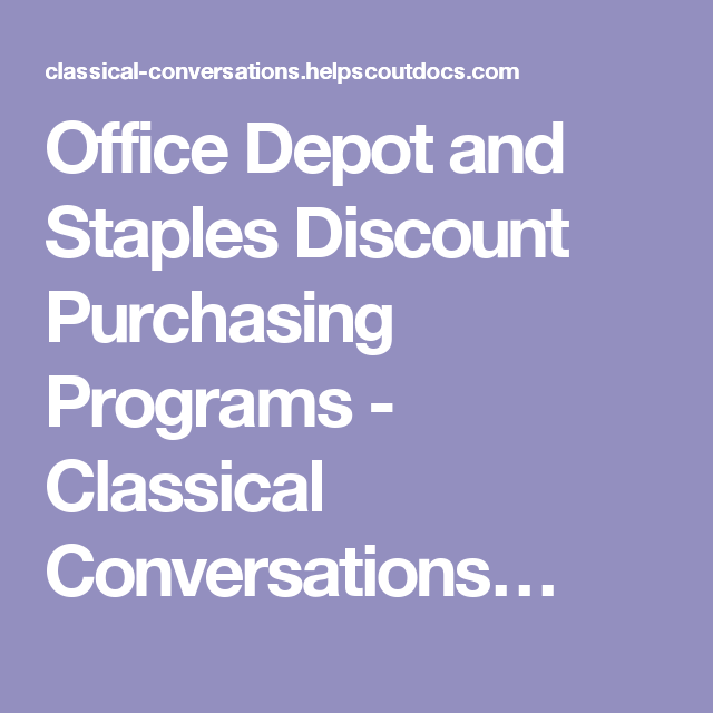 Office Depot And Staples Discount Purchasing Programs  Classical