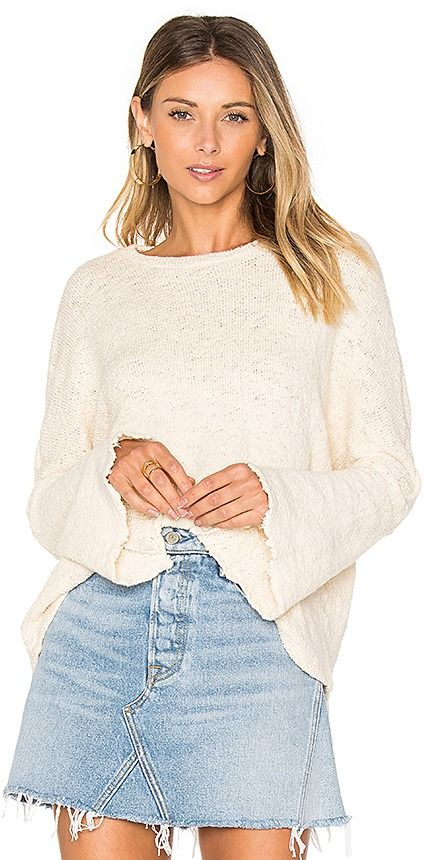 60b3e7318ecef0 Palmer Bell Sleeve Sweater in White by Michael Lauren on ShopStyle ...