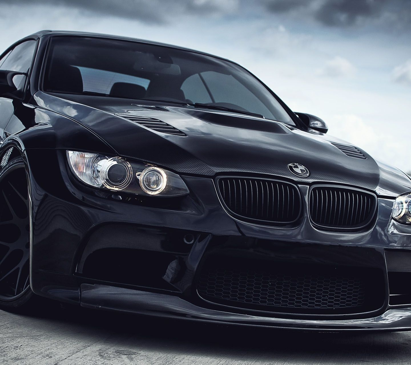 Blacked out BMW M3 closeup.