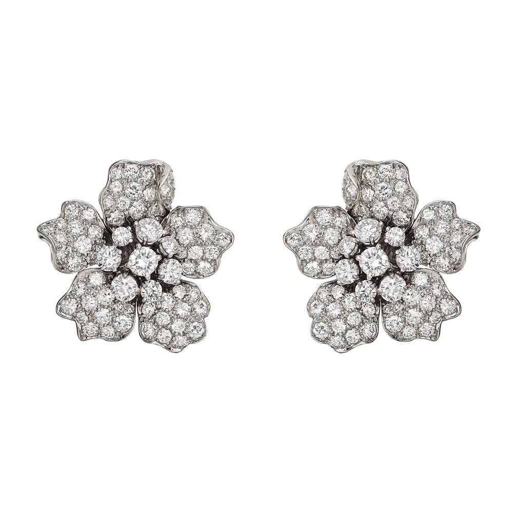 dc86d22689039 Estate Betteridge Collection Pavé Diamond Flower Earclips | Estate ...