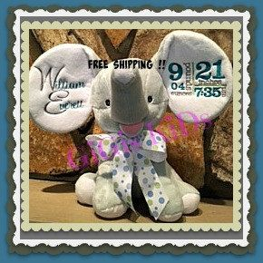 Baby birth announcementpersonalized stuffed animaltoybaby gift blue elephant personalized stuffed animal birthday boy alabama newborn gift cubbie birth announcement roll tide by negle Images