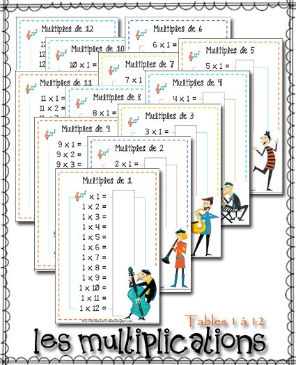 Au fil des jours cartes de multiplication free printable for Table de multiplication cm2