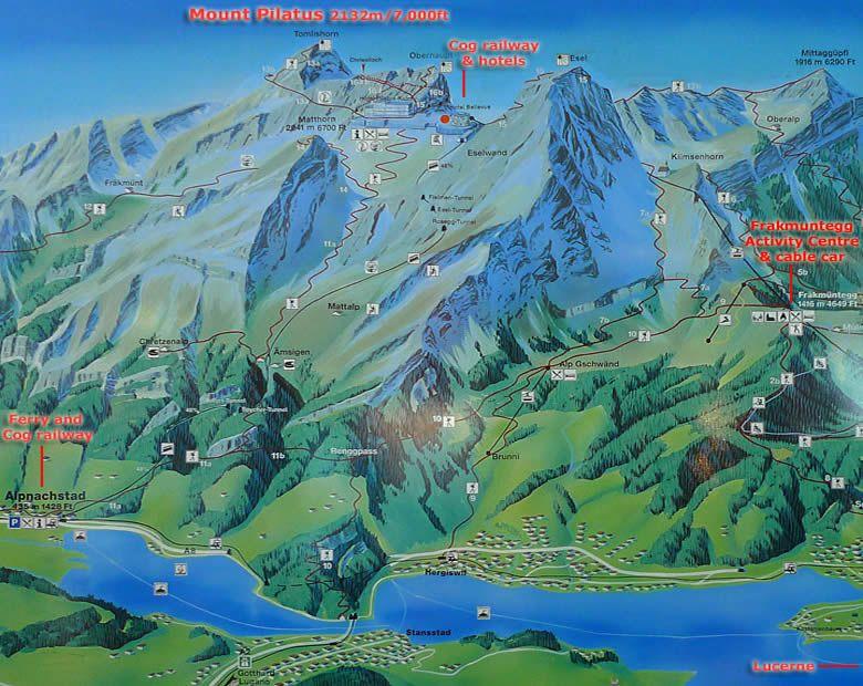 Mt Pilatus activities map Lucerne Switzerland wanderlust