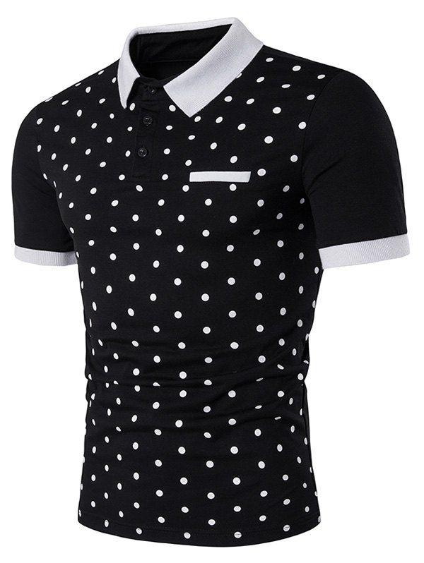 T Shirts Black 2xl Polka Dot Print Edging Polo T Shirt Gamiss