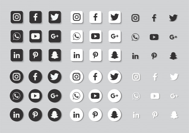 Social Media Icons Set Isolated On Gray Background Social Media Icons Media Icon Icon Set
