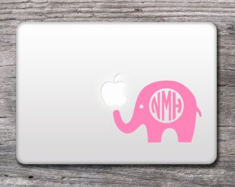 Elephant Monogram Decal - Personalized Vinyl Monogrammed Stickers for Mac , laptops by LoveNestCo - 036