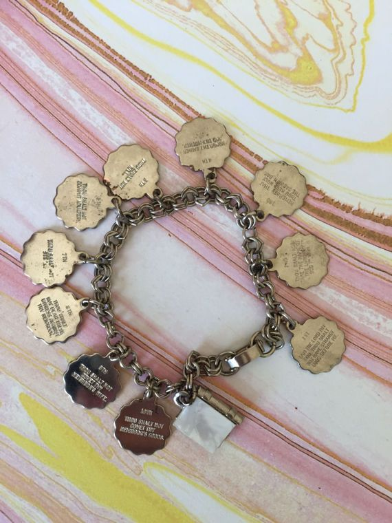 Vintage Ten Commandments Charm Bracelet 10