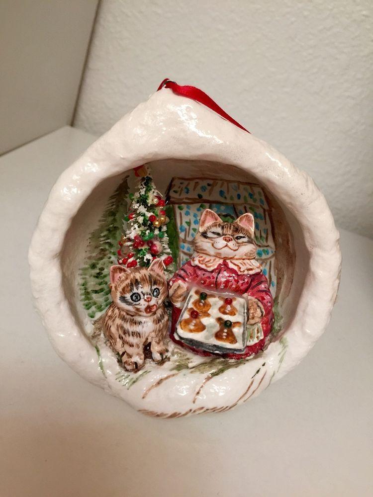 Paper Mache Christmas Ornament.Vtg Jan Zimmer Handmade Paper Mache Christmas Ornament