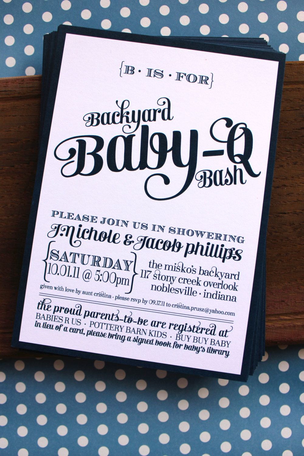 Backyard Baby-Q Bash Shower Invitations - Available in Blue, Green and Coral  -