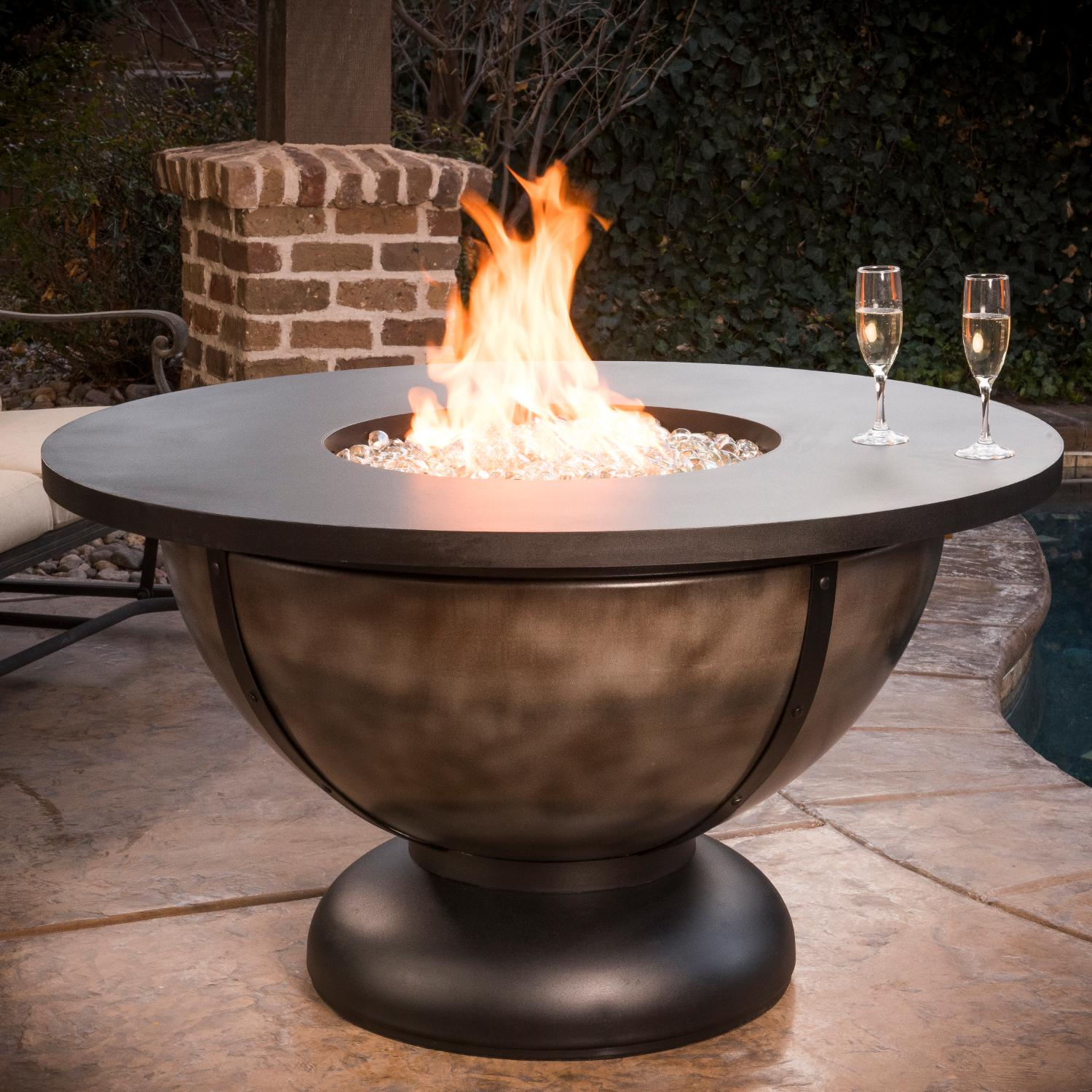 Cc Products Onyx Bowl 48 Inch Round Natural Gas Fire Table Onyx Finish C1045 Bbq Guys Fire Table Fire Pit Table Fire Pit Bowl