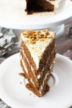 Photo of Gingerbread cake with cinnamon cream and burnt sunflower seeds