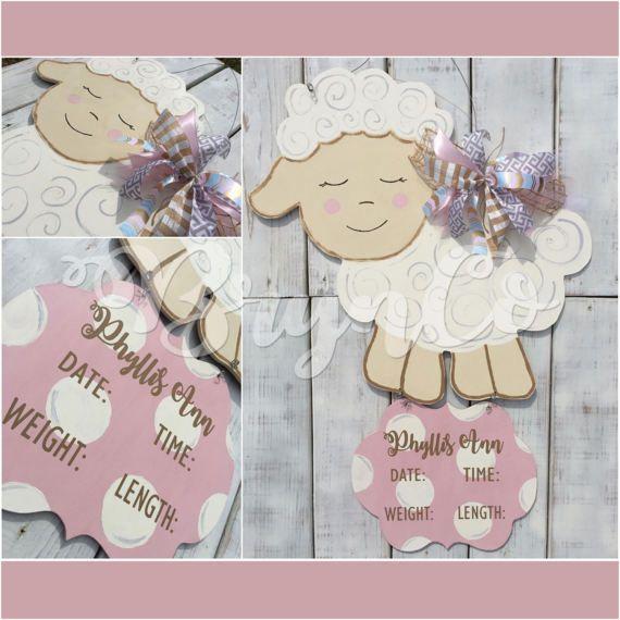 Little Lamb   Sheep   Hospital Door Hanger   Baby Girl   Birth - healthcare door hanger