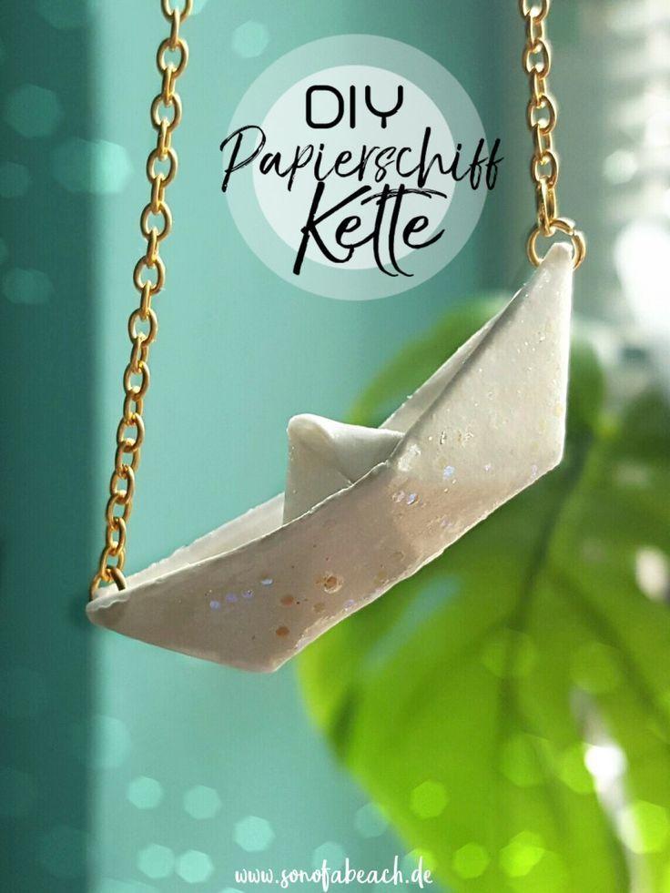 Schmuck DIY – Kette mit Origami Papierschiff