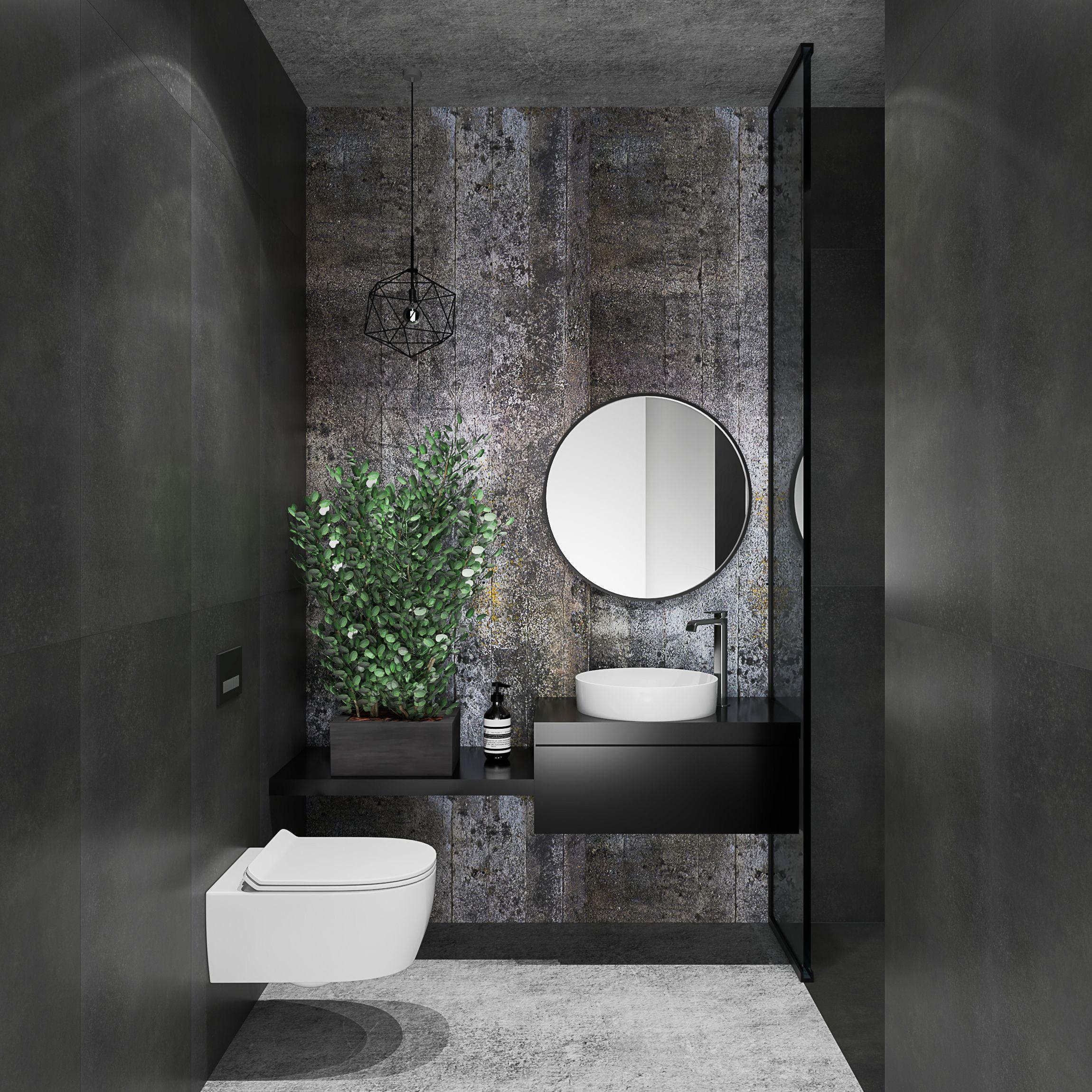 Ciemna Klimatyczna Mała łazienka Z Płytką Cerrad Concrete