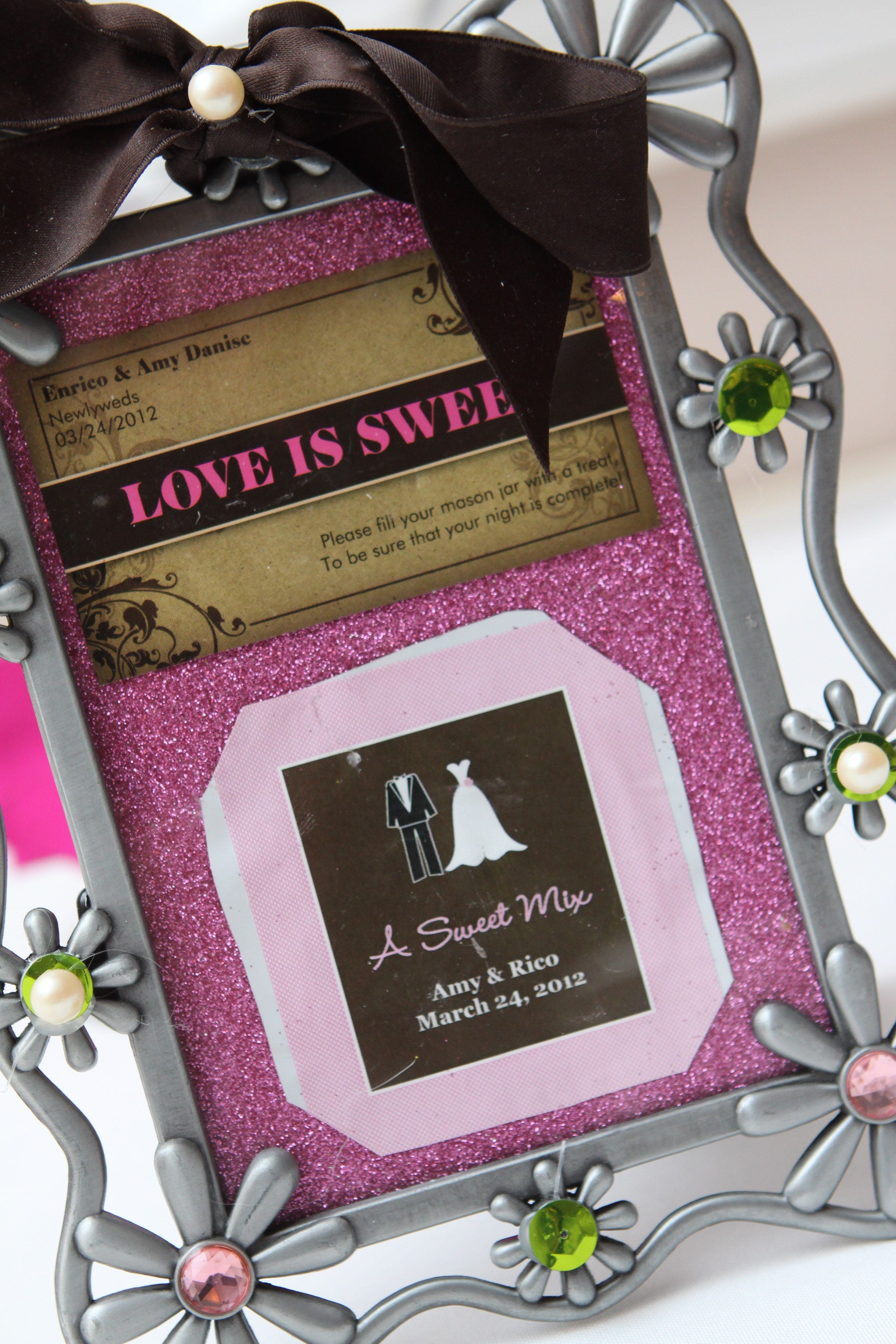 """i made this picture frame with our own newlywed """"business card"""" to"""