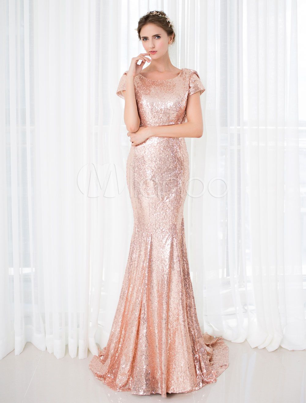 Rose gold prom dresses long nude mermaid backless evening dress