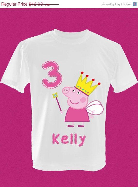 ON SALE Childrens Peppa Pig Fairy Princess Birthday T Shirt