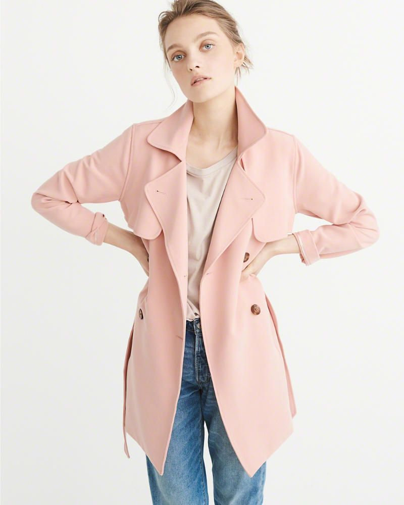 2019 hot sale designer fashion cheap A&F Women's Drapey Trench Coat in Light Pink - Size XL ...