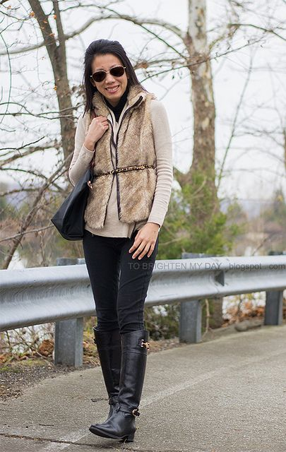 fur vest, camel open cardigan, black riding boots by brightenday, via Flickr