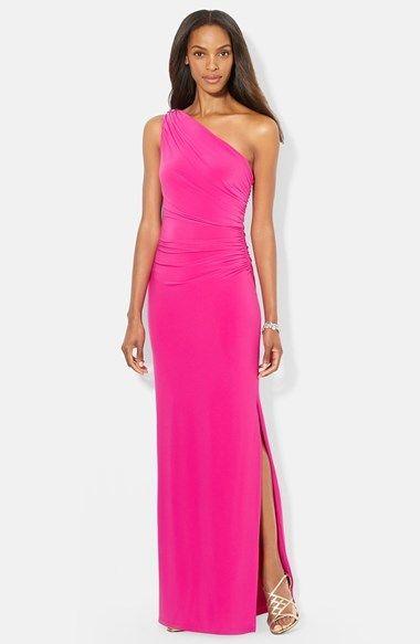 0b55a736d814 Lauren Ralph Lauren Embellished One Shoulder Jersey Column Gown on shopstyle .com