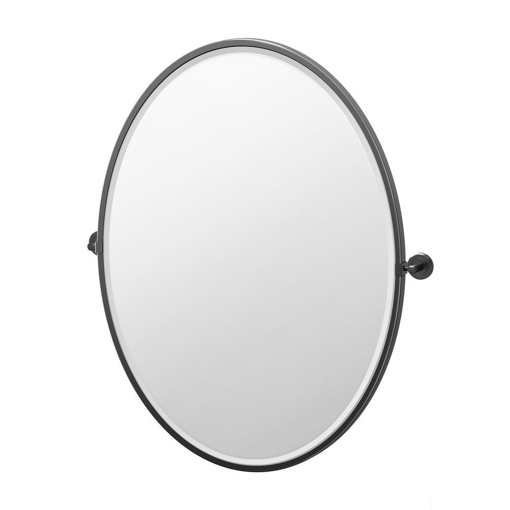 Gatco Latitude 25 In W X 33 In H Framed Oval Beveled Edge Bathroom Vanity Mirror In Matte Black 4249xflg The Home Depot Oval Mirror Bathroom Oval Mirror Metal Frame Mirror Oval framed bathroom mirrors