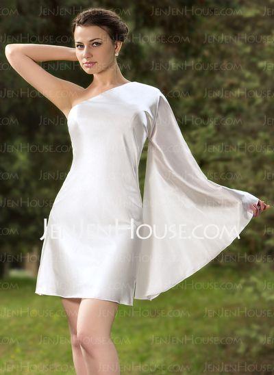 Cocktail Dresses - $98.99 - Sheath One-Shoulder Short/Mini Charmeuse Cocktail Dress (016012931) http://jenjenhouse.com/Sheath-One-Shoulder-Short-Mini-Charmeuse-Cocktail-Dress-016012931-g12931