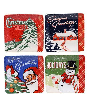 Look at this #zulilyfind! Retro Christmas Canape Plate - Set of Four #zulilyfinds