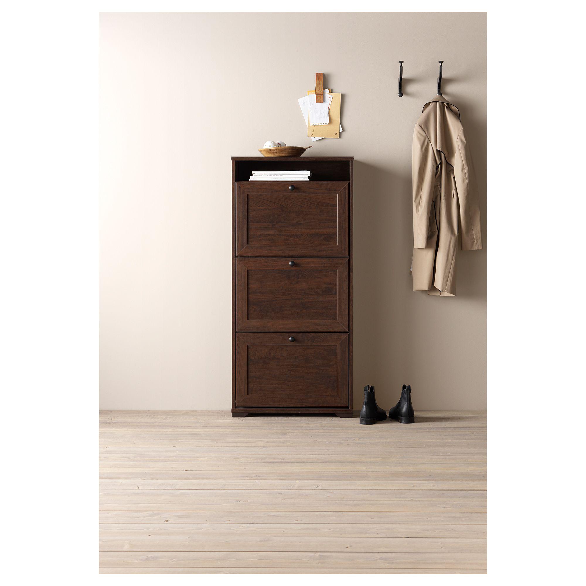 Armadietti In Plastica Ikea.Ikea Brusali Shoe Cabinet With 3 Compartment Brown Idee Ikea