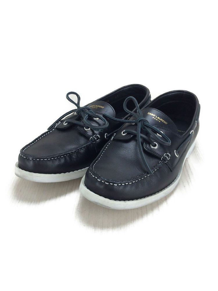5a6b4ac8eeb eBay  Sponsored SAINT LAURENT deck shoes 40.5BLK leather 344079 BZC00 1000  (K17082